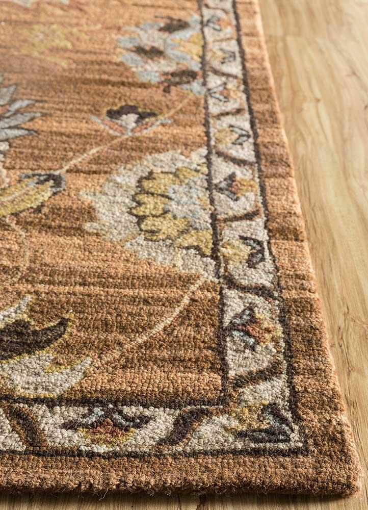 mythos beige and brown wool hand tufted Rug - Corner