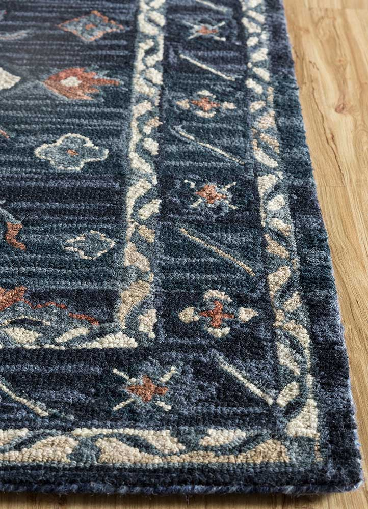 mythos blue wool hand tufted Rug - Corner