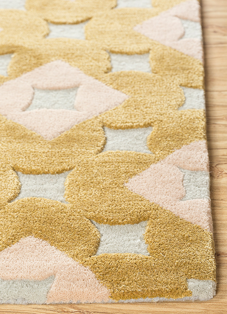 jaipur wunderkammer gold wool and viscose hand tufted Rug - Corner