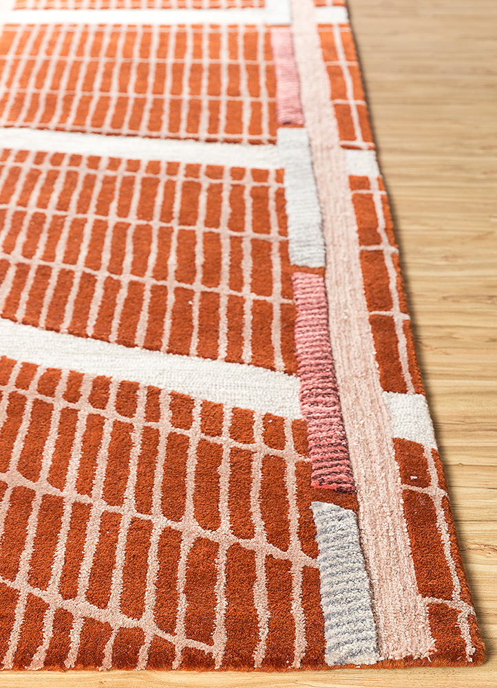 jaipur wunderkammer red and orange wool hand tufted Rug - Corner
