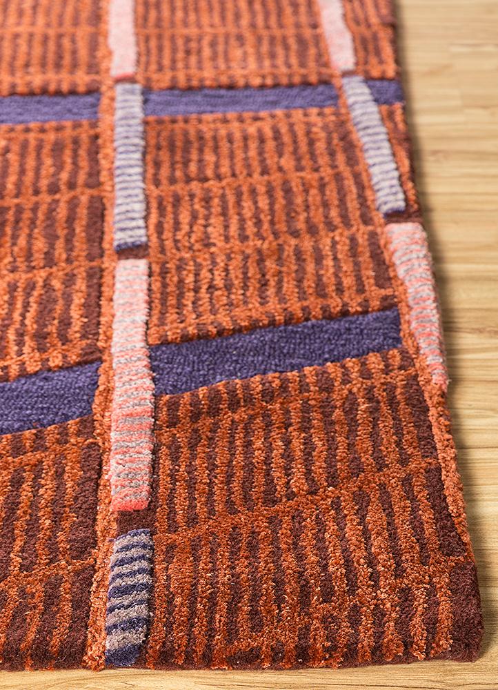 jaipur wunderkammer red and orange wool and viscose hand tufted Rug - Corner