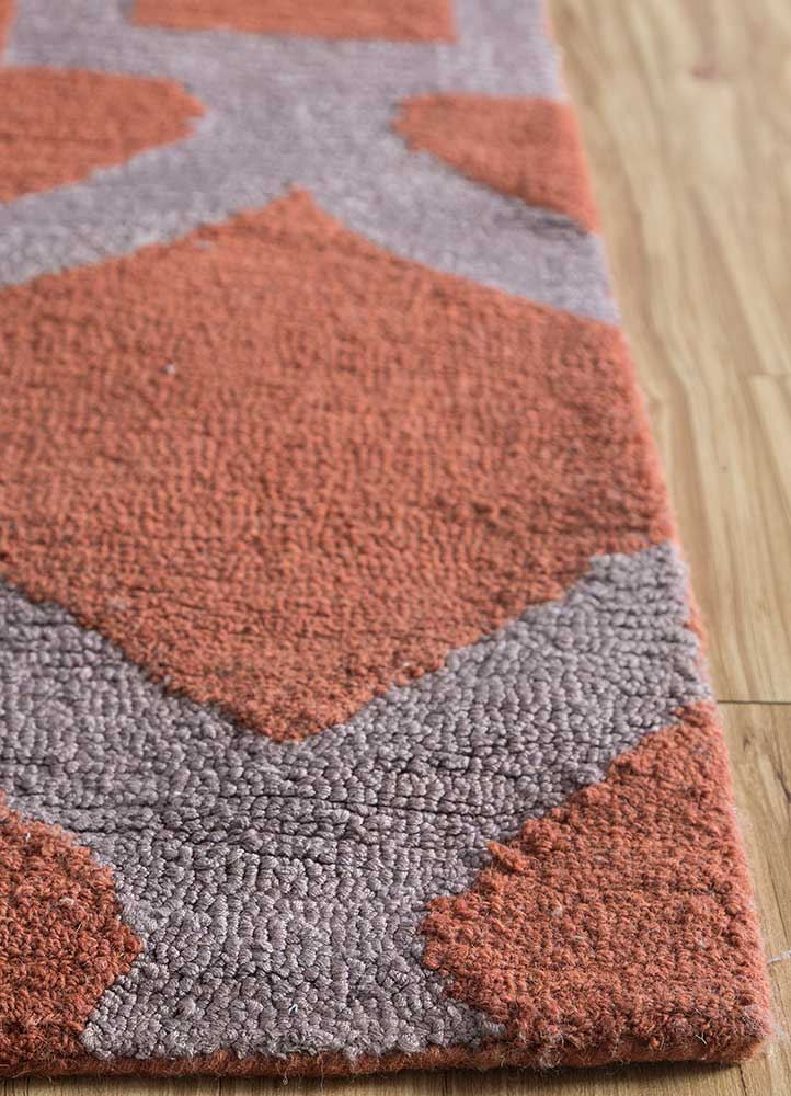 contour red and orange wool and bamboo silk hand tufted Rug - Corner