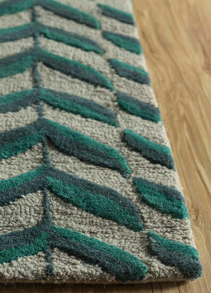 coastal green wool hand tufted Rug - Corner