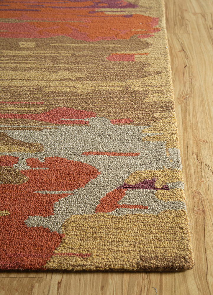 transcend beige and brown wool and viscose hand tufted Rug - Corner
