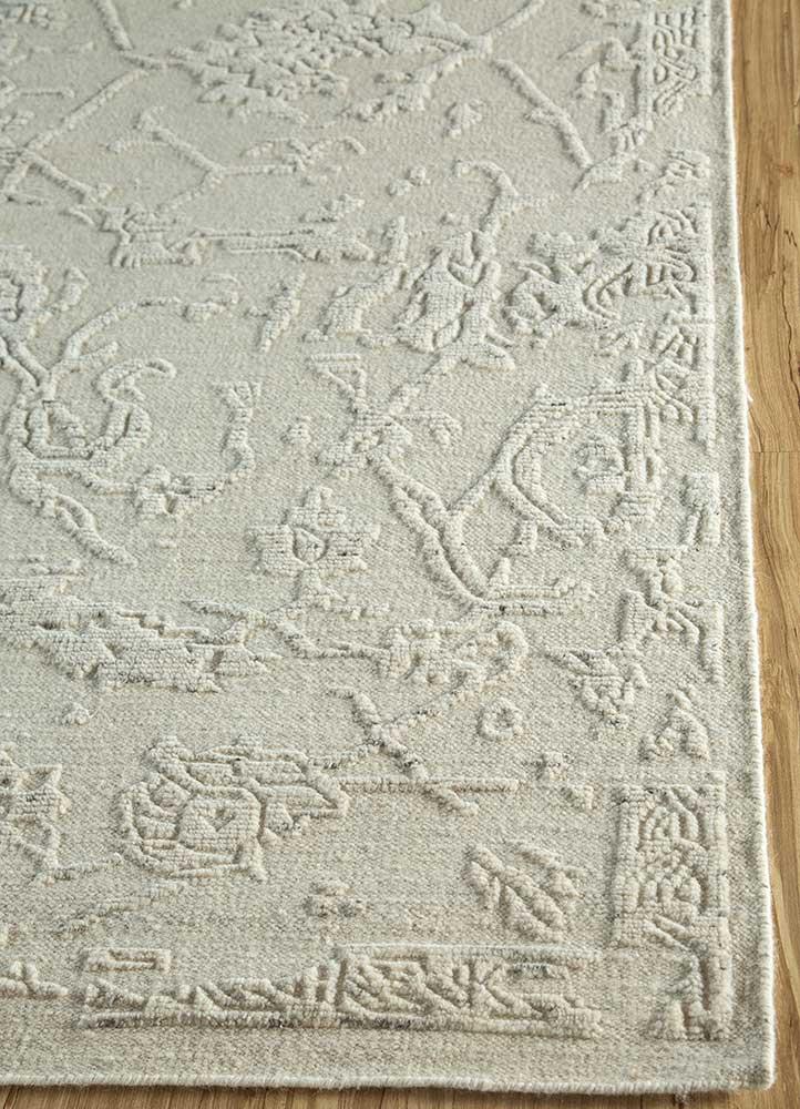eden ivory wool hand knotted Rug - Corner