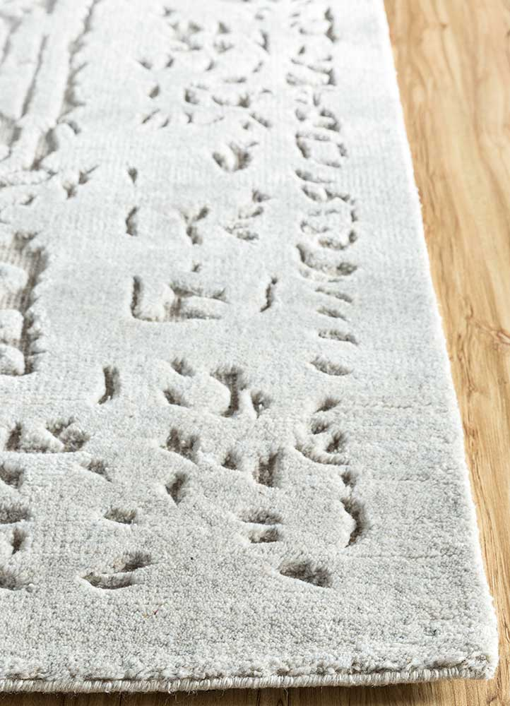 eden grey and black wool and viscose hand knotted Rug - Corner