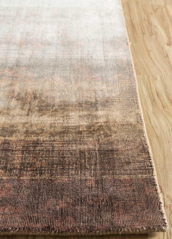 oxford beige and brown viscose hand loom Rug - Corner