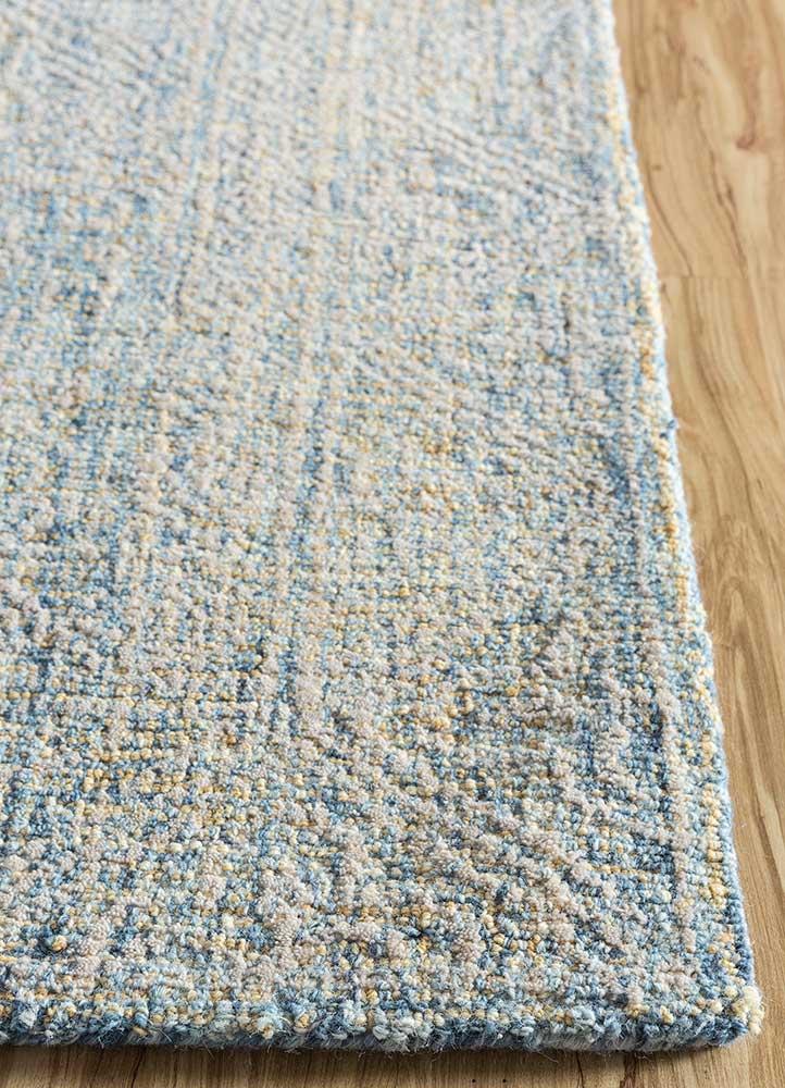 shudd blue wool hand tufted Rug - Corner
