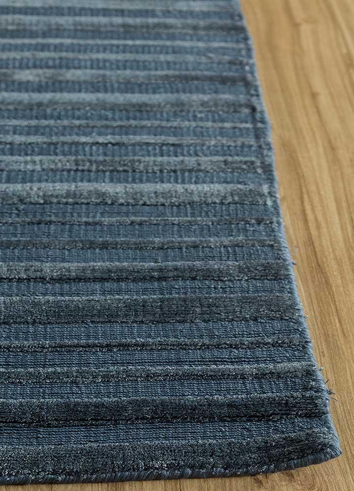 konstrukt blue bamboo silk hand loom Rug - Corner