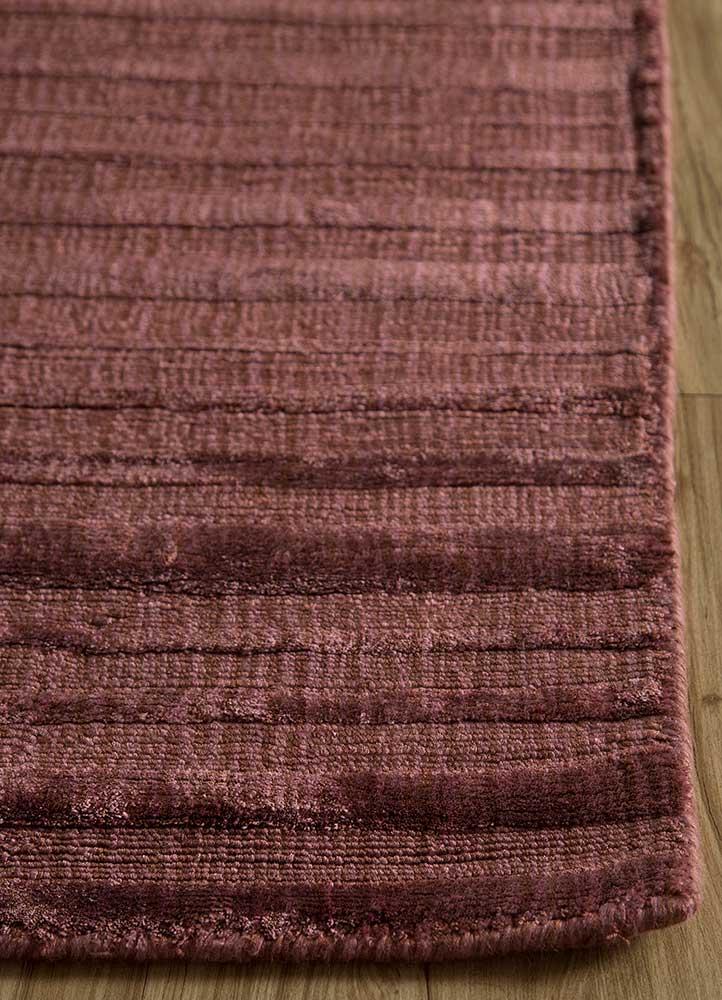 basis red and orange viscose hand loom Rug - Corner