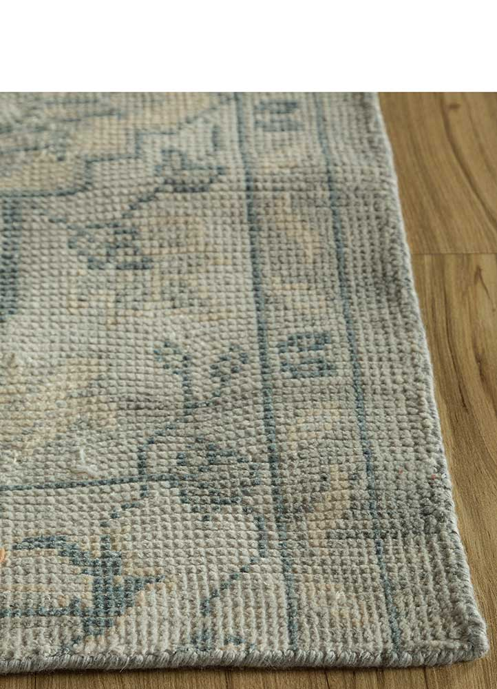 liberty blue polyester hand knotted Rug - Corner