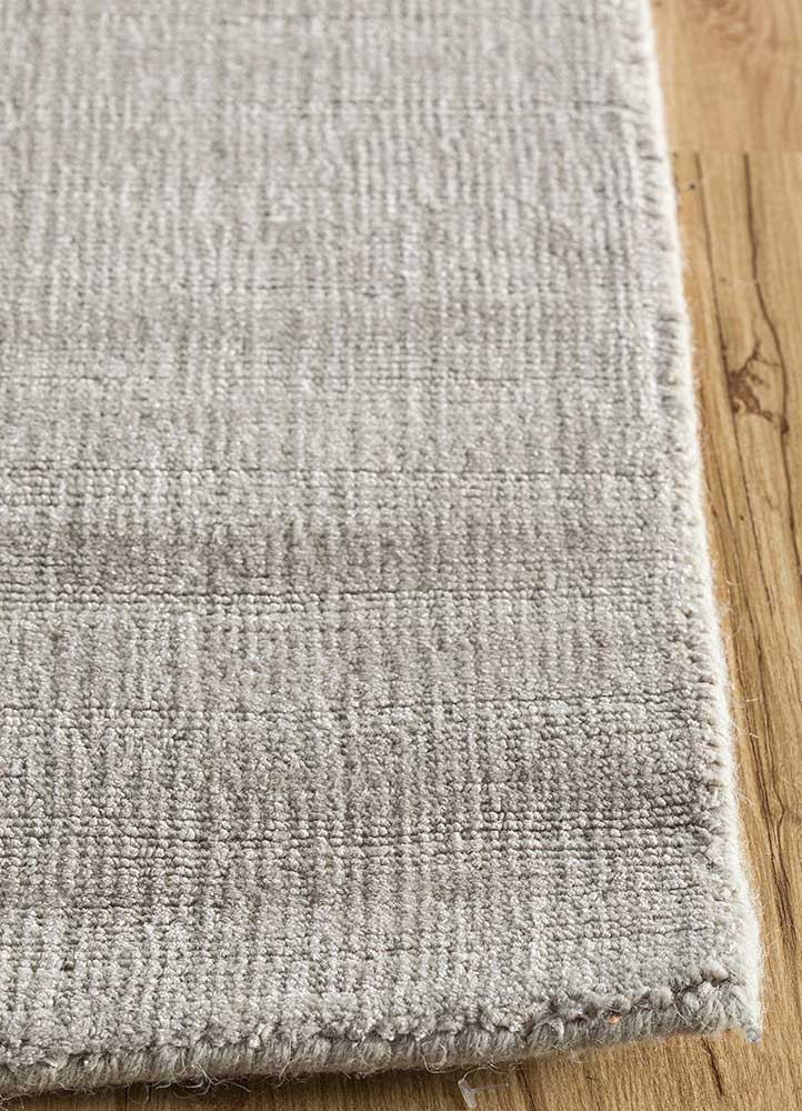 konstrukt grey and black wool and bamboo silk hand loom Rug - Corner