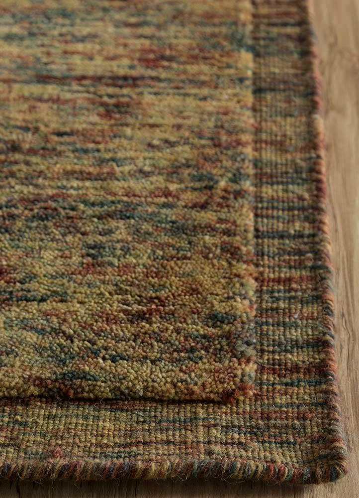 eron gold wool hand loom Rug - Corner