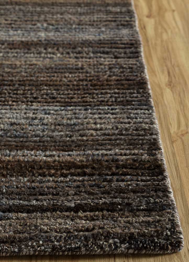 legion grey and black wool hand knotted Rug - Corner