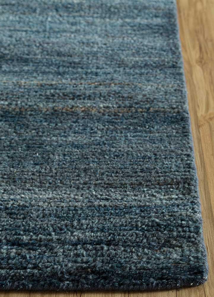 legion blue wool hand knotted Rug - Corner