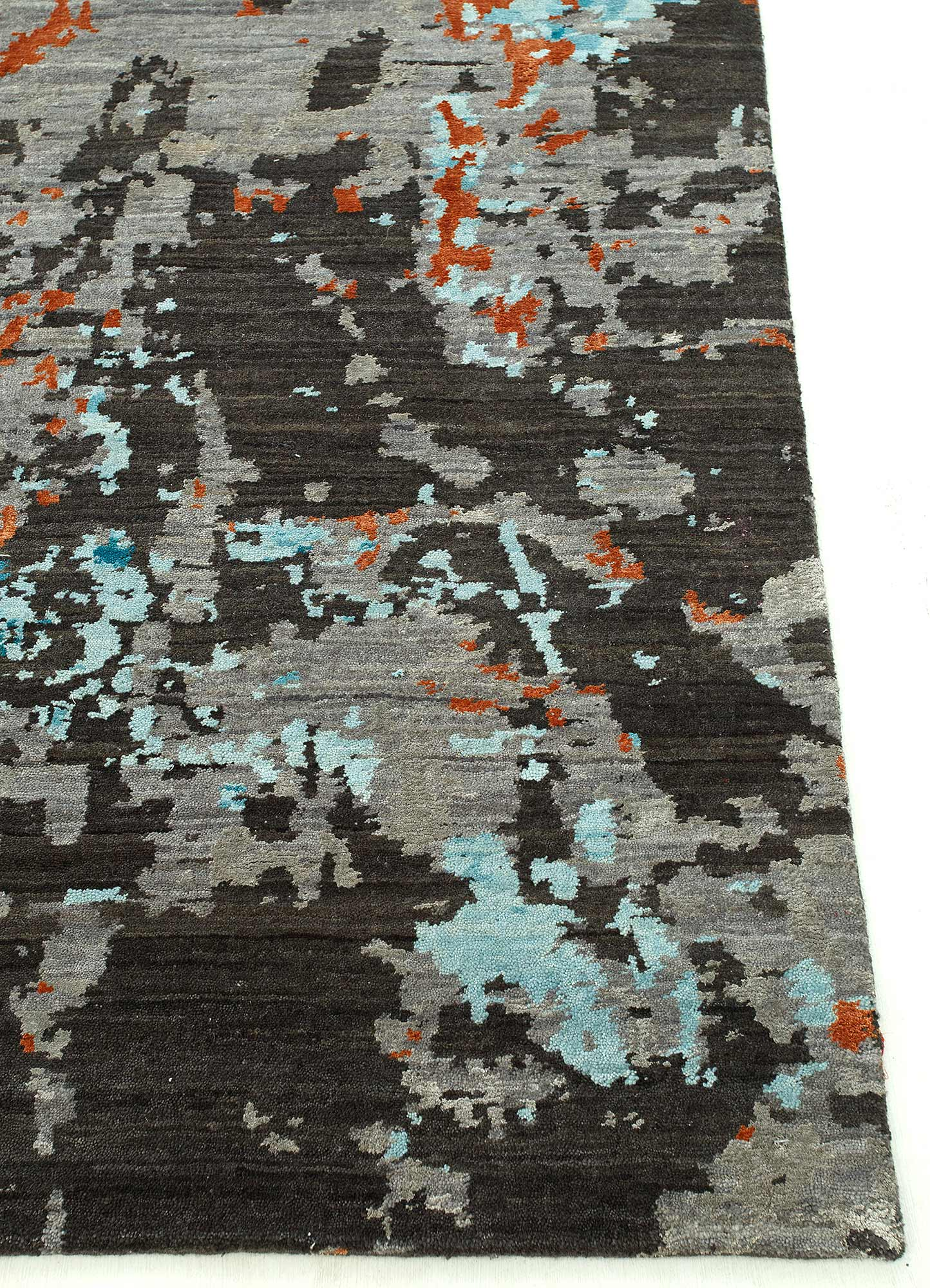chaos theory by kavi grey and black wool and bamboo silk hand knotted Rug - Corner
