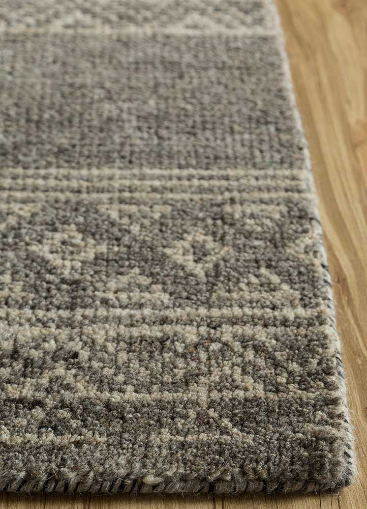 viscaya grey and black wool hand knotted Rug - Corner