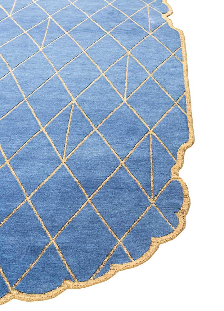 jaipur wunderkammer blue wool and bamboo silk hand knotted Rug - Corner