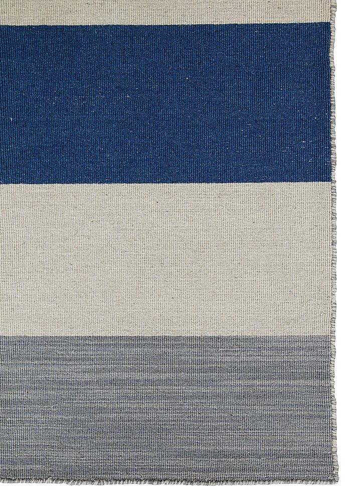 aqua blue wool flat weaves Rug - Corner