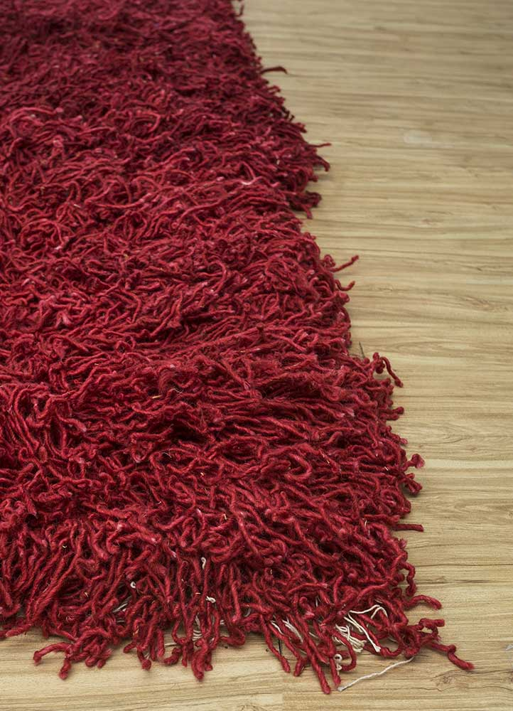 nadia red and orange wool hand knotted Rug - Corner