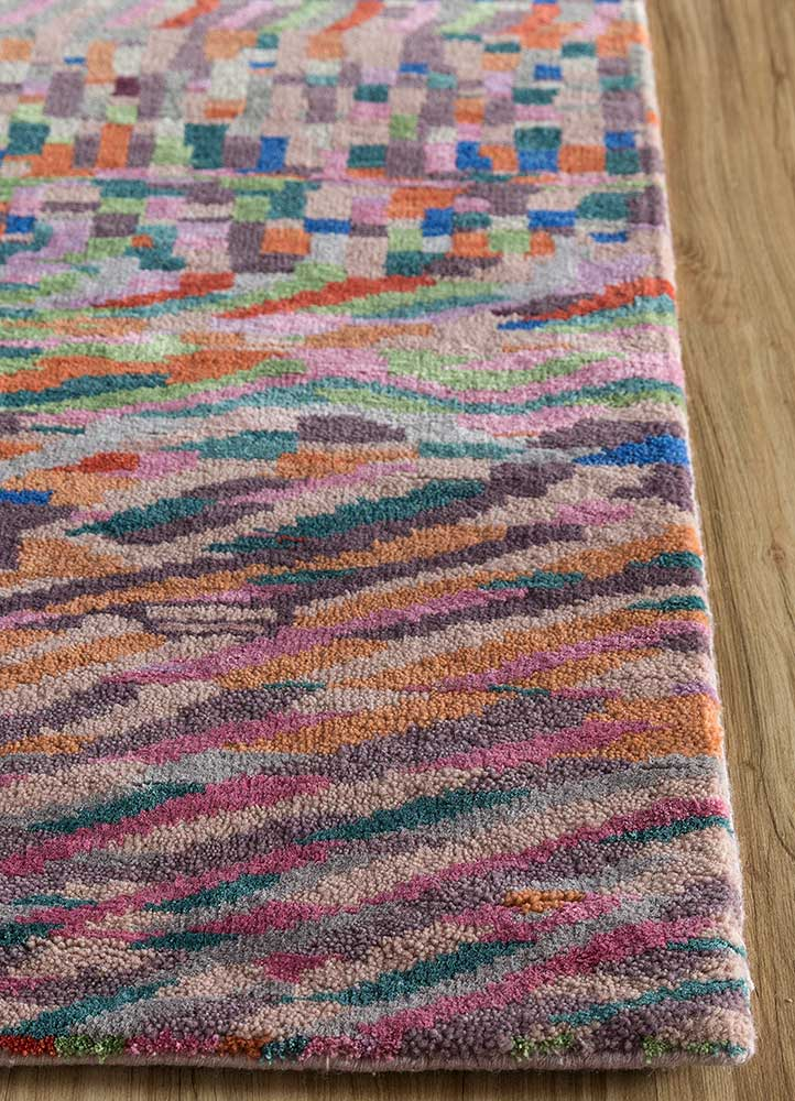artisan originals pink and purple wool and bamboo silk hand knotted Rug - Corner