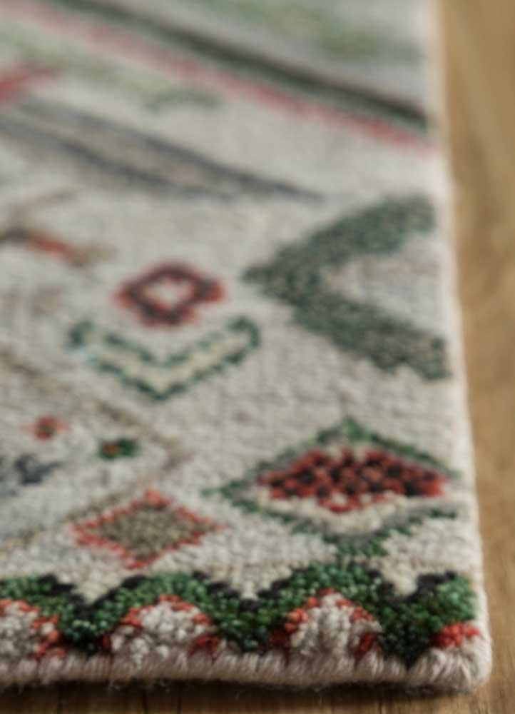 artisan originals ivory wool and bamboo silk hand knotted Rug - Corner