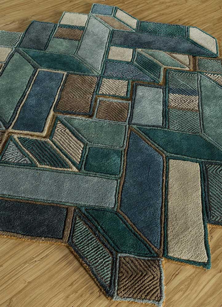 archetype blue wool and viscose hand tufted Rug - FloorShot