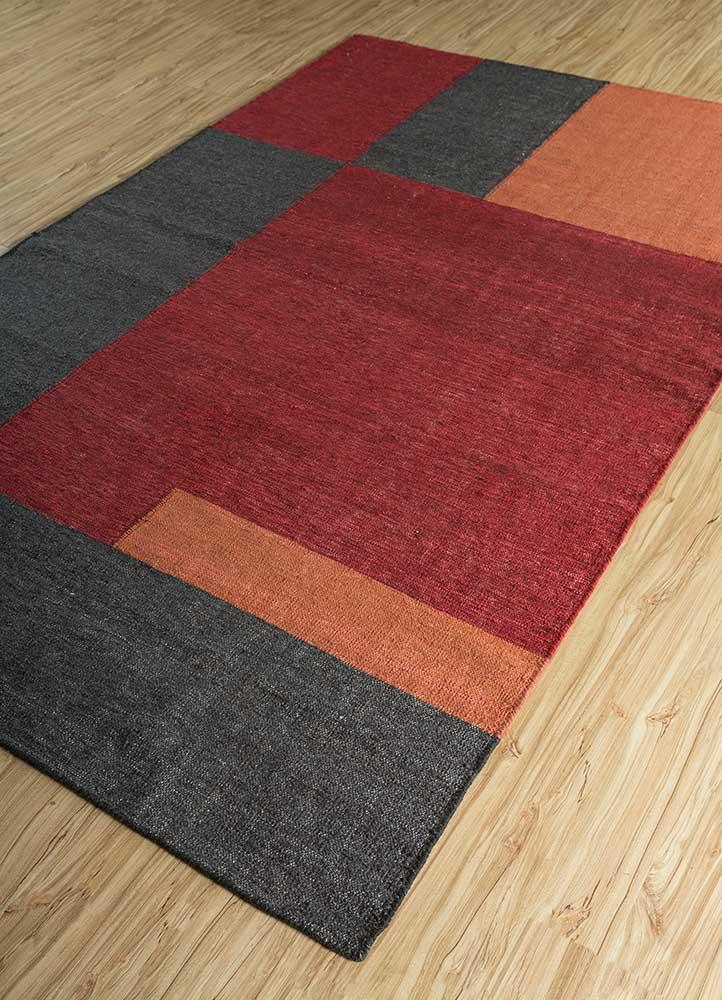 heritage red and orange wool and bamboo silk flat weaves Rug - FloorShot