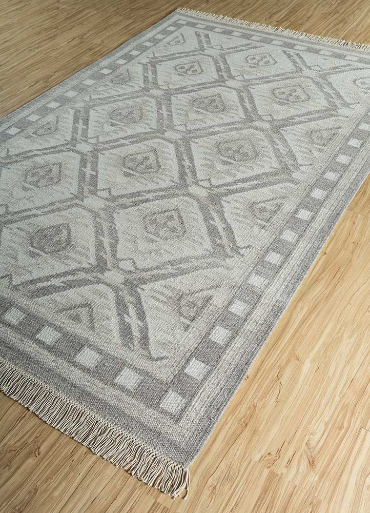 bedouin grey and black wool and viscose flat weaves Rug - FloorShot