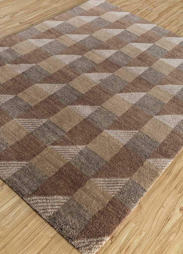 geode beige and brown wool and bamboo silk hand knotted Rug - FloorShot