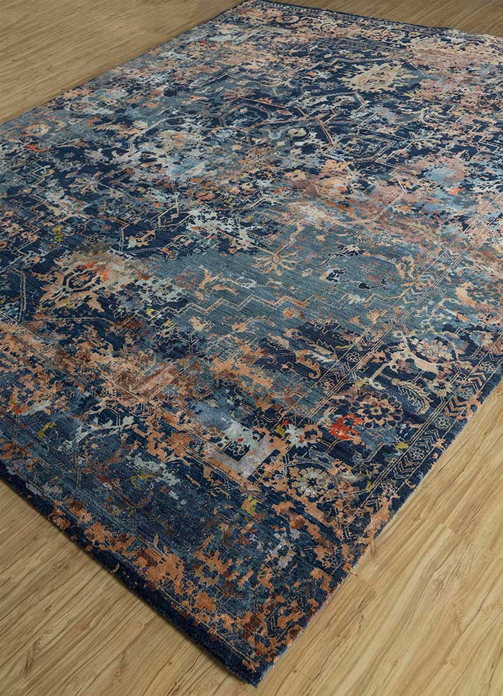 far east blue wool and bamboo silk hand knotted Rug - FloorShot
