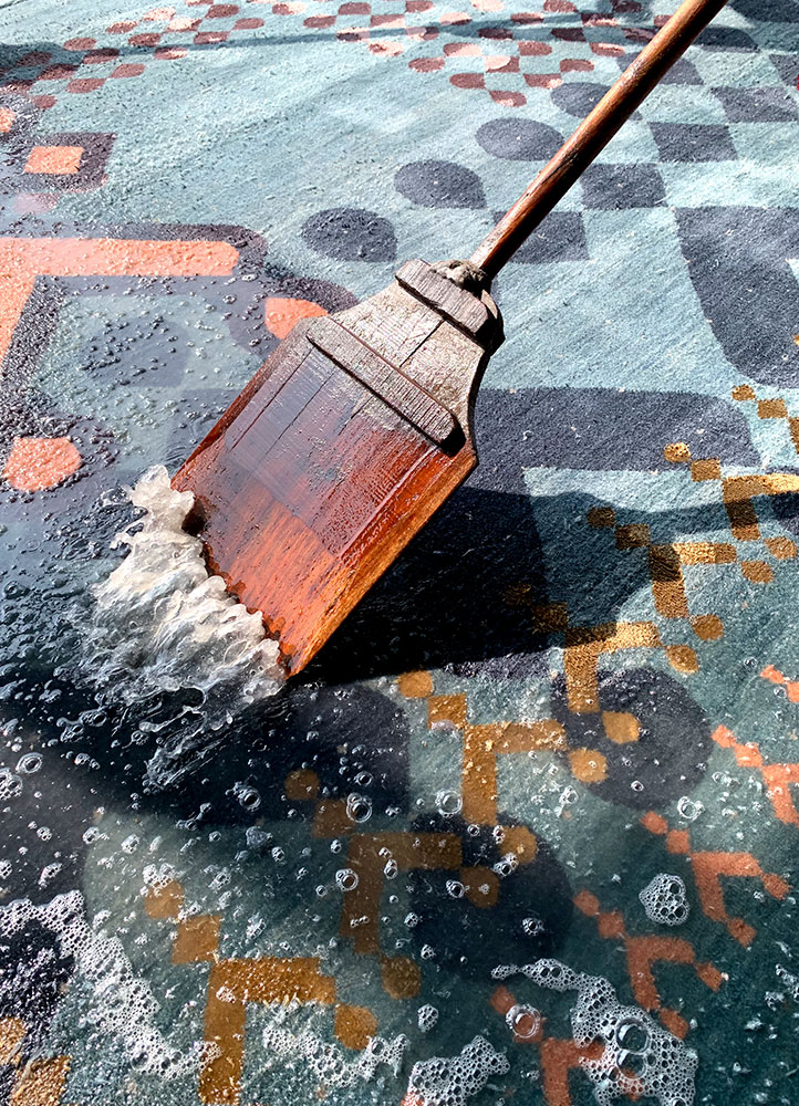 kolam blue wool and bamboo silk hand knotted Rug - FloorShot