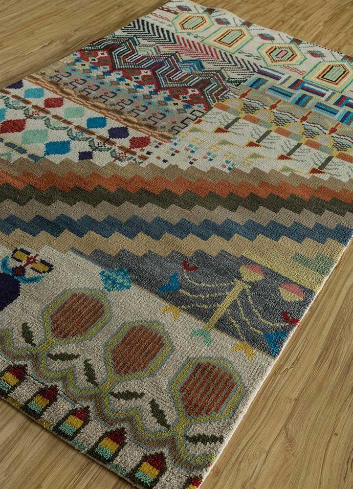 erbe ivory wool hand knotted Rug - FloorShot