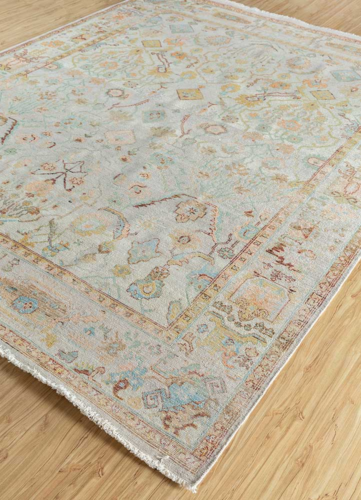 someplace in time ivory wool hand knotted Rug - FloorShot
