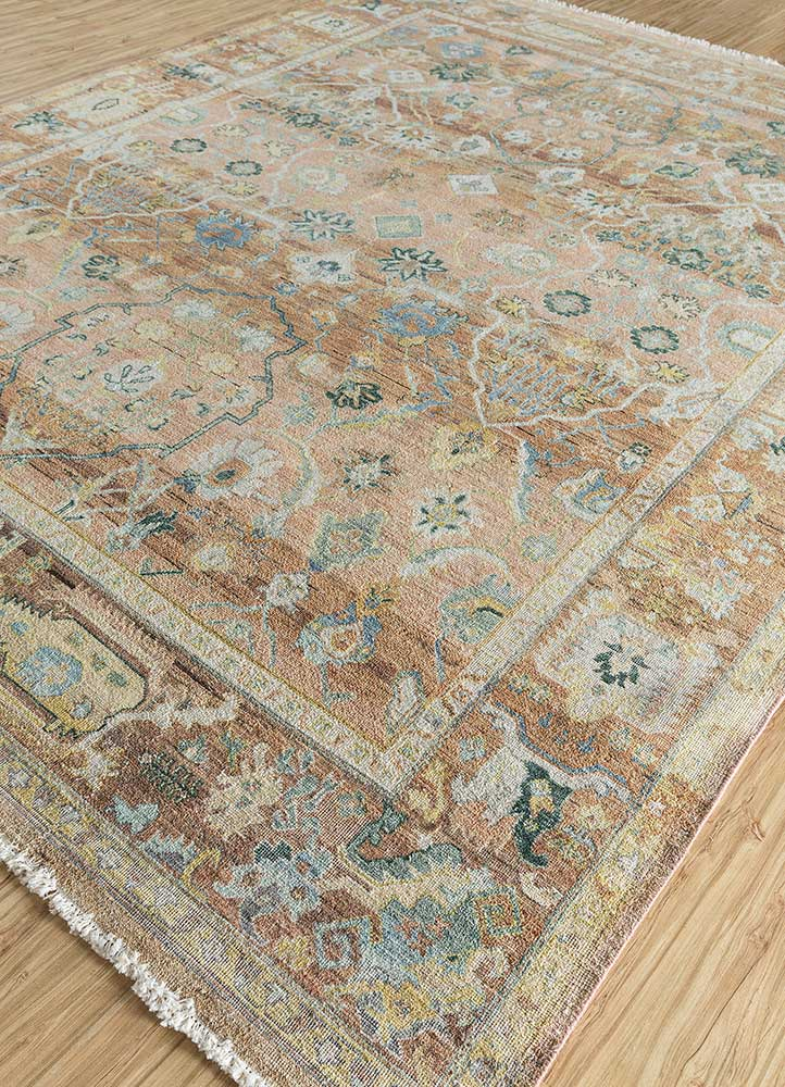 someplace in time red and orange wool hand knotted Rug - FloorShot