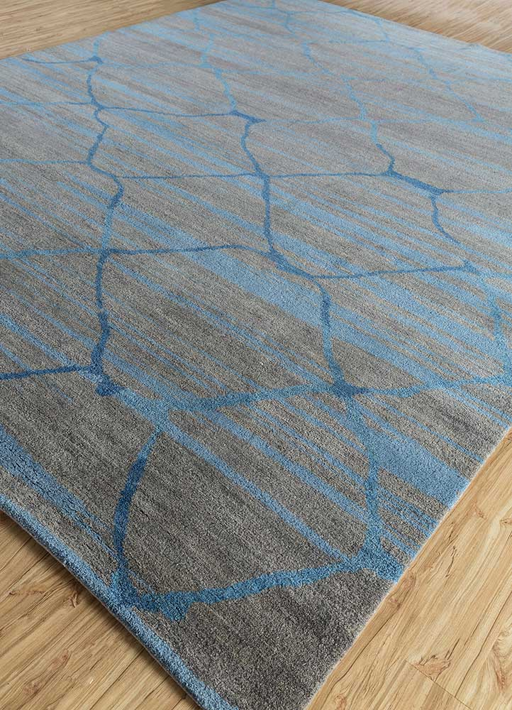 cleo grey and black wool hand knotted Rug - FloorShot