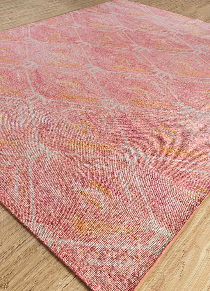 revolution red and orange wool hand knotted Rug - FloorShot