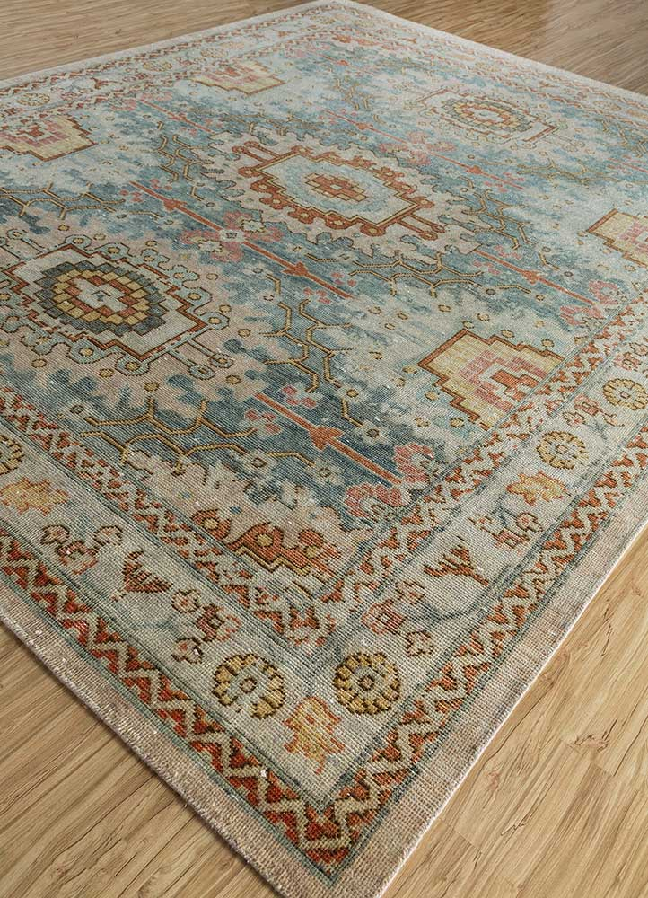 revolution blue wool hand knotted Rug - FloorShot
