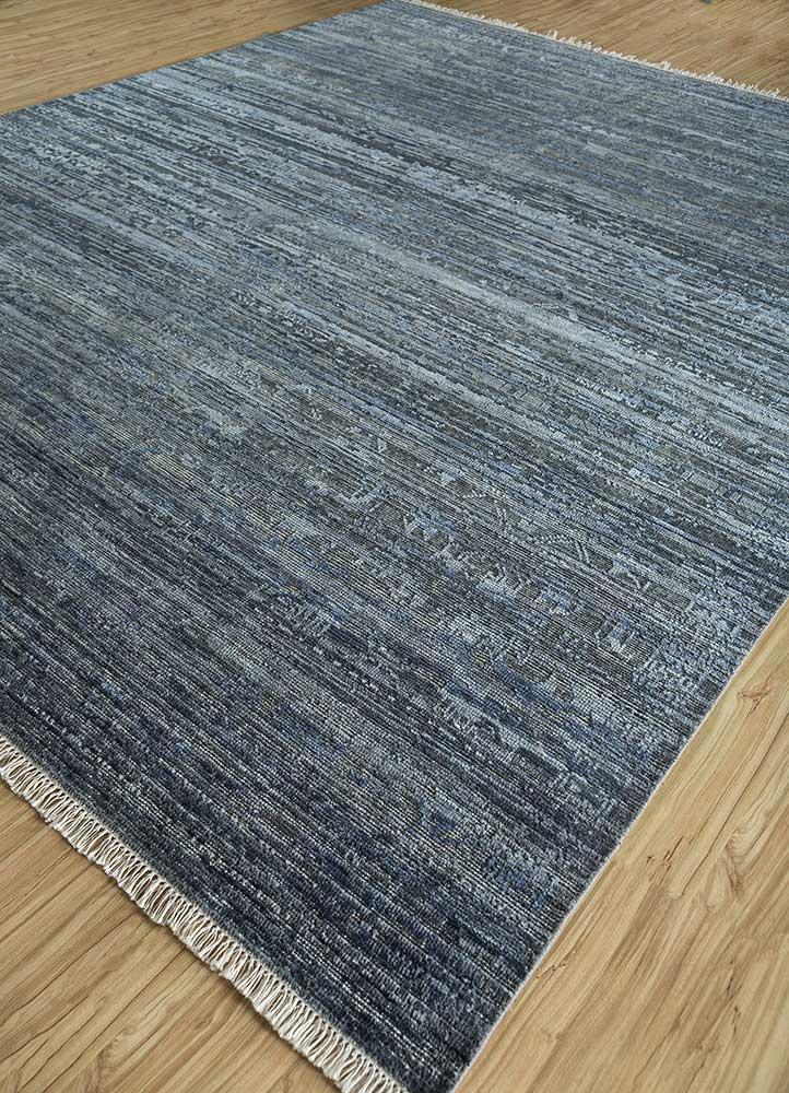 legion blue wool and silk hand knotted Rug - FloorShot