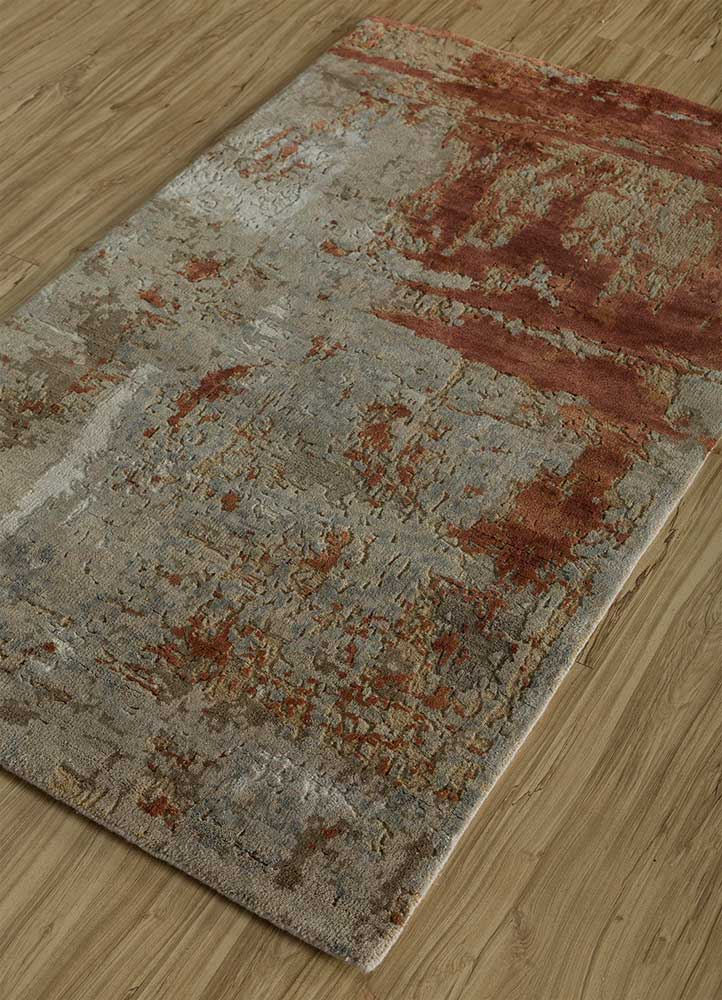 erbe beige and brown wool and silk hand knotted Rug - FloorShot