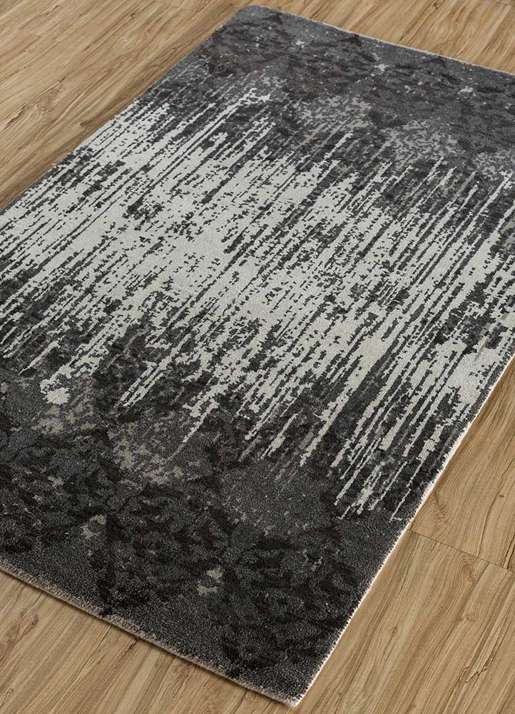 blithe grey and black wool hand knotted Rug - FloorShot