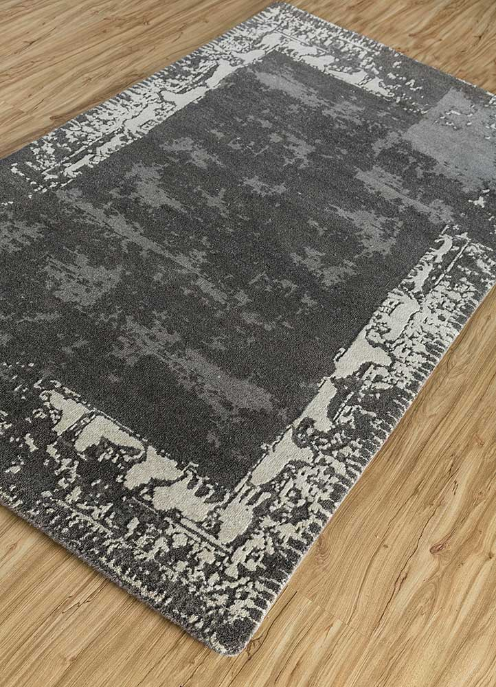 eden grey and black wool hand knotted Rug - FloorShot