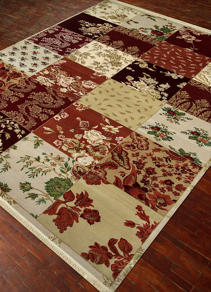 blithe red and orange wool hand knotted Rug - FloorShot