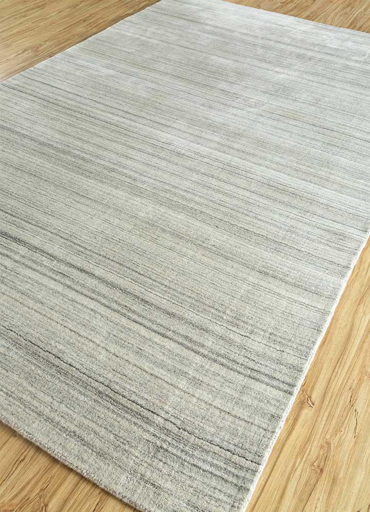 tesoro grey and black wool and viscose hand loom Rug - FloorShot