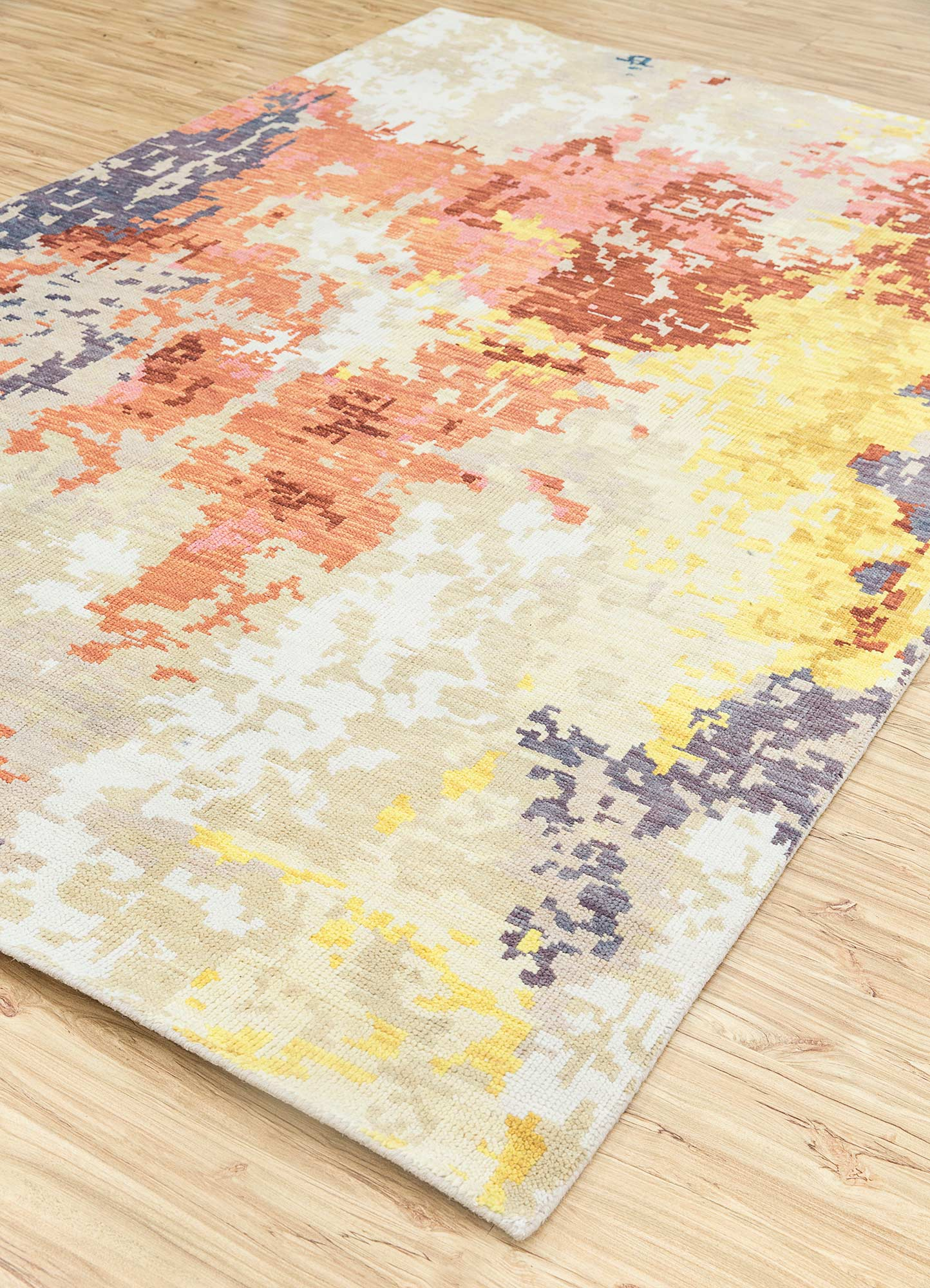 esme beige and brown polyester hand knotted Rug - FloorShot
