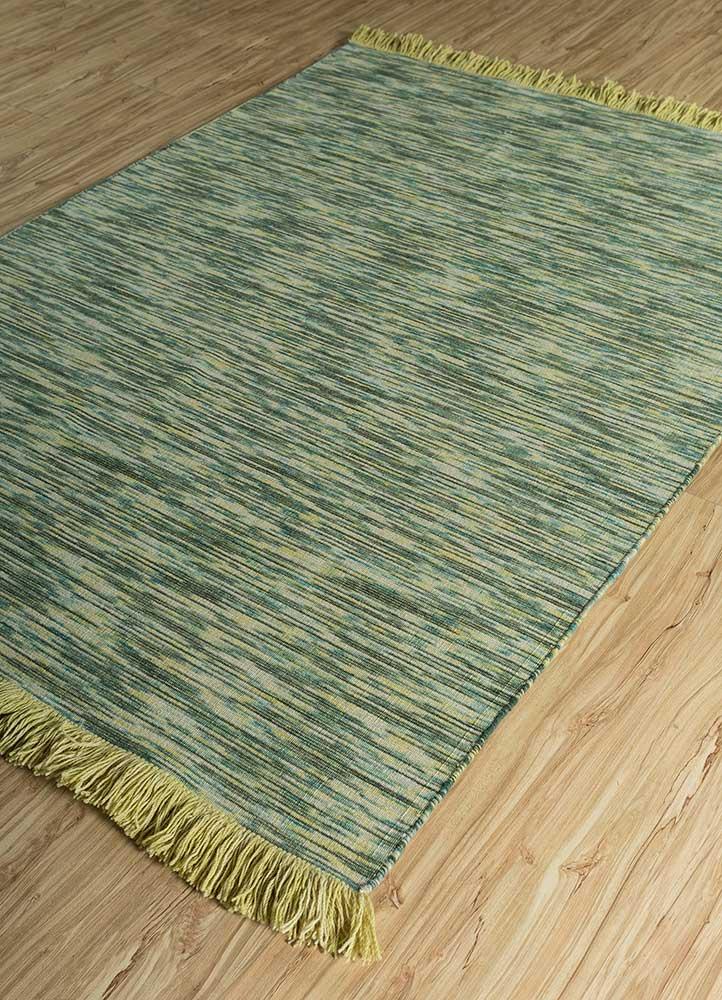 abrash green wool flat weaves Rug - FloorShot