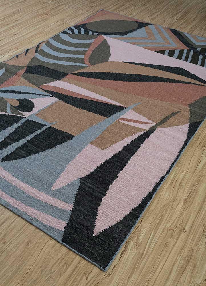 anatolia grey and black wool flat weaves Rug - FloorShot