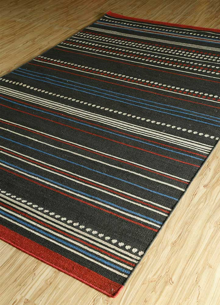 aqua grey and black wool flat weaves Rug - FloorShot