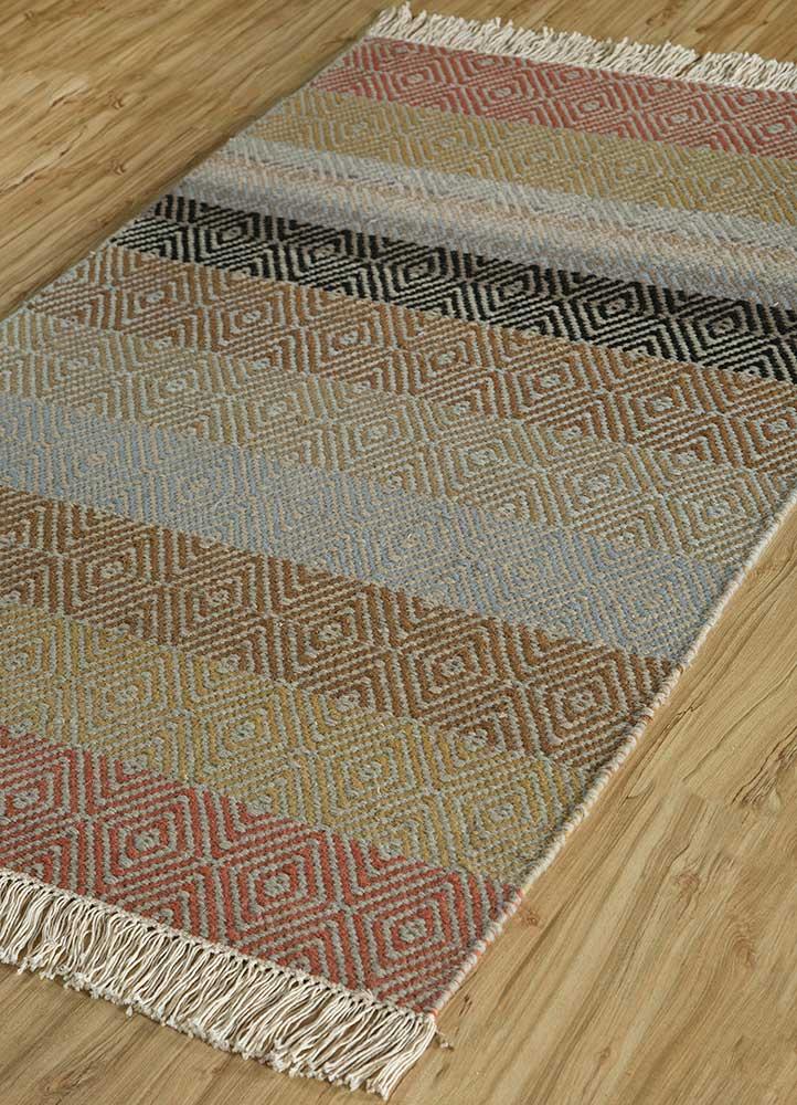 kaross red and orange wool flat weaves Rug - FloorShot