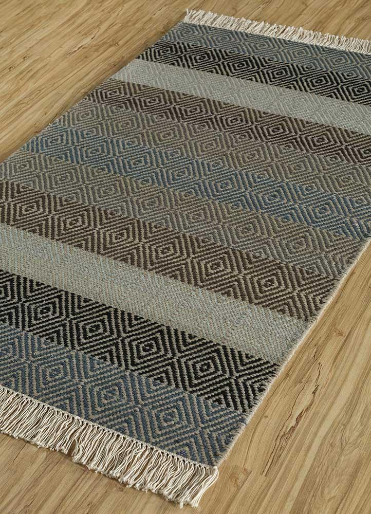 kaross grey and black wool flat weaves Rug - FloorShot